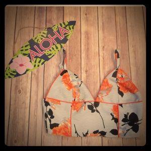 Mink pink sz s floral blue orange crop top shirt